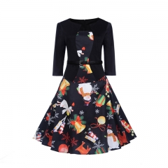 CICI Black printed medium-sleeved dress with belt S one color
