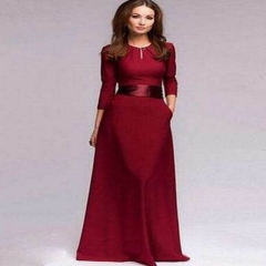 CICI 2018 Spring and Autumn new wine red trim sash dress suitable for evening parties S Wine red