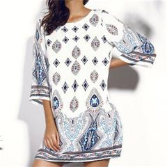 CICI Autumn new European and American open-back mid-sleeve printing dress S one color