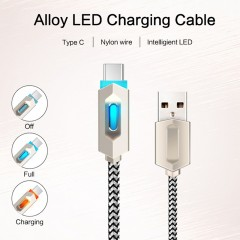 LED USB Type C Cable Fast Charging Data Type-C Nylon Mobile Phone Charger Cable Silver 1m