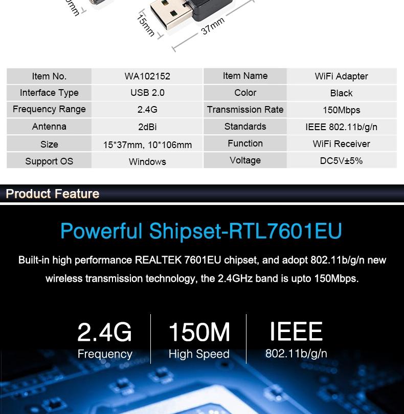 HOT USB WiFi Wireless N Adapter Wi-Fi Dongle 5dBi High Gain Power Antenna 802.11N T2 Black  2