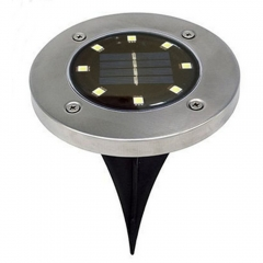 LED Solar Power Buried Light 8 LEDs Ground Lamp Outdoor Path Way Garden Decor Black White Light
