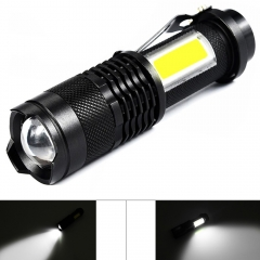 Mini Tactical Flashlight LED Flashlights 4 Mode Q5 Adjustable Focus Zoom COB Work Light for Biking black one size