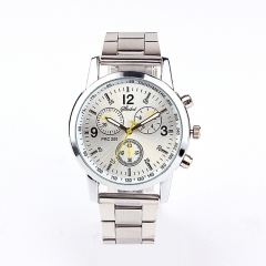 2019 watch men New High quality brand men Fashion watches Stainless Steel  Quartz Hour Wrist  Watch White one size