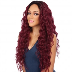 Curly Hair Wig Corn Hot Red Long Curly Fluffy Wig light brown as shown