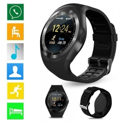 Y1 Smartwatch Bluetooth Smart Watch 2G GSM SIM App Sync Mp3 for Apple iPhone Xiaomi Android Phones black one size