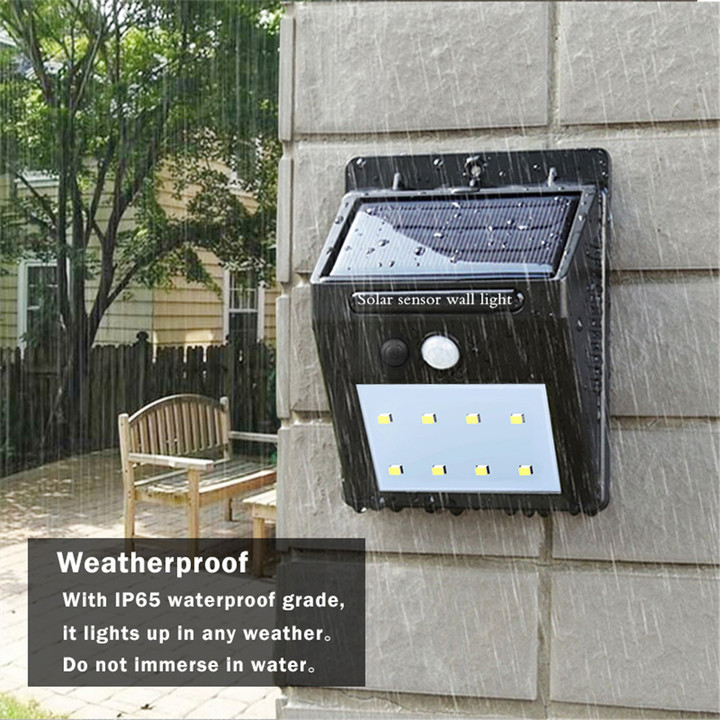 Solar Power PIR Motion Sensor +CDS Night Sensor Wall Light Outdoor Garden Lamp black white light