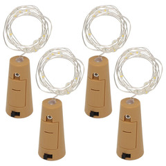 4pcs Lamp Cork Shaped Bottle Stopper Glass Wine LED Wire String Lights For Party Wedding Xmas Yellow 2m As shown