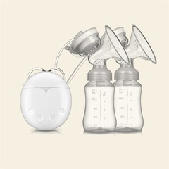 Powerful Double Intelligent Microcomputer Safe Low Noise USB Electric Breast Pump With Milk Bottle White one size