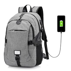 17 Inch Nylon Laptop Bag With USB Charger Casual Business Backpack For Men Women Grey