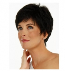 women hairpiece and Short hair Dark brown one size