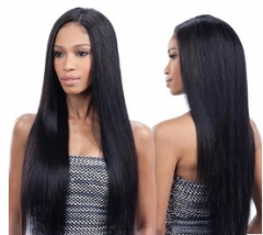 Fashion wig women have long straight hair with bangs and human hair light brown one size