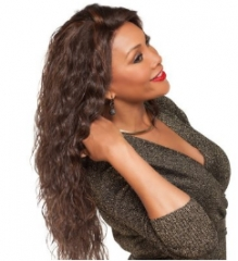 Corn perm long curly hair style full wig and human hair light brown one size