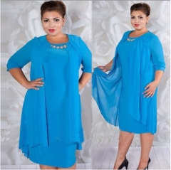New women's dress of pure color round neck, middle sleeve, large size fashion dress Deep blue l