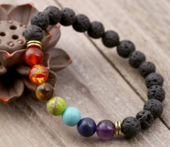 Energy volcanic stone bracelet  8mm natural stone B one size
