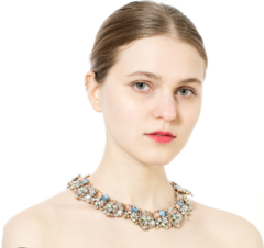 Fashion creative crystal gem clavicle chain white one size