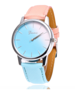 Stylish women's splice oligochromatic quartz watch Deep red and deep blue one size