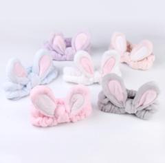 Women's bow-tie headband wash and tie embroidery headband pink
