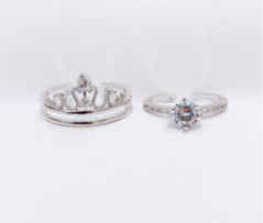 Crown two in one ring  Open adjustable  Plating S925  Silver ring one size one size