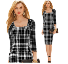 Women's new black and white plaid seven-point sleeve dress temperament s the picture color
