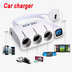 Dual USB port 3 way car cigarette lighter socket outlet charger plug adapter all phones and Ipad Mp3 white 135g