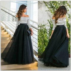 Striped shirt+Puff skirt Two-piece women's skirt sexy beautiful noble l black