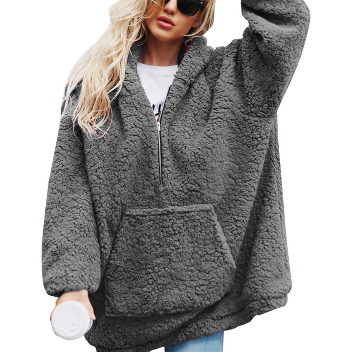 """DUMA"" winter Keep warm Plush coat Leisure Loose Hooded Zipper sweater Grey S"