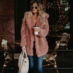 New fashion europe imitation fur weave Women Winter Warm plush outwear coat Autumn fall Long Sleeve black m