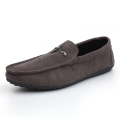 New Men's Fashion Casual Loafers Comfortable Non-slip Flat Shoes Men Driving shoes gray 39