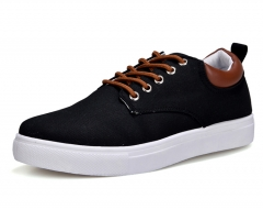 Men's Fashion Low Help Shoes Casual Canvas Men Flat Shoes Outdoor Non-Slip Shoes Men Big Size 39-46 black 39