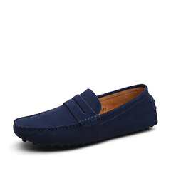 Big Size Cow Suede Leather Men Flats New Men Casual Shoes High Quality Men Loafers Driving Shoes dark blue 45
