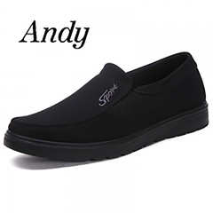 New Men's Leather Shoes Casual Canvas Shoes Non-slip Wearable Comfortable Large Size Shoes Men black 38 canvas