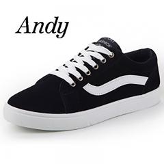 Men's Comfortable Canvas Shoes Men Fashion Sneakers For Men Flat Loafers Shoes black 41
