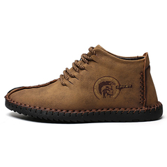 New Comfortable Casual Shoes Loafers Men Shoes Quality Split Leather Shoes Men Flats Moccasins Shoes khaki 48