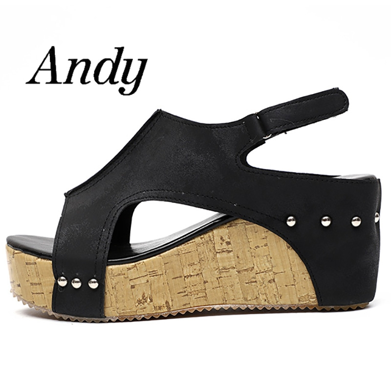 226655430c1 New Women's Wedge Heels Fish Mouth Sandals Comfortable Soft Pu Material  Plus Size Women Sandals black 35