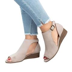 Women's Wedge Buckles Fish Mouth Sandals Women Sandals Mid Heel Sandals Summer Peep Toe Women Shoes gray 39