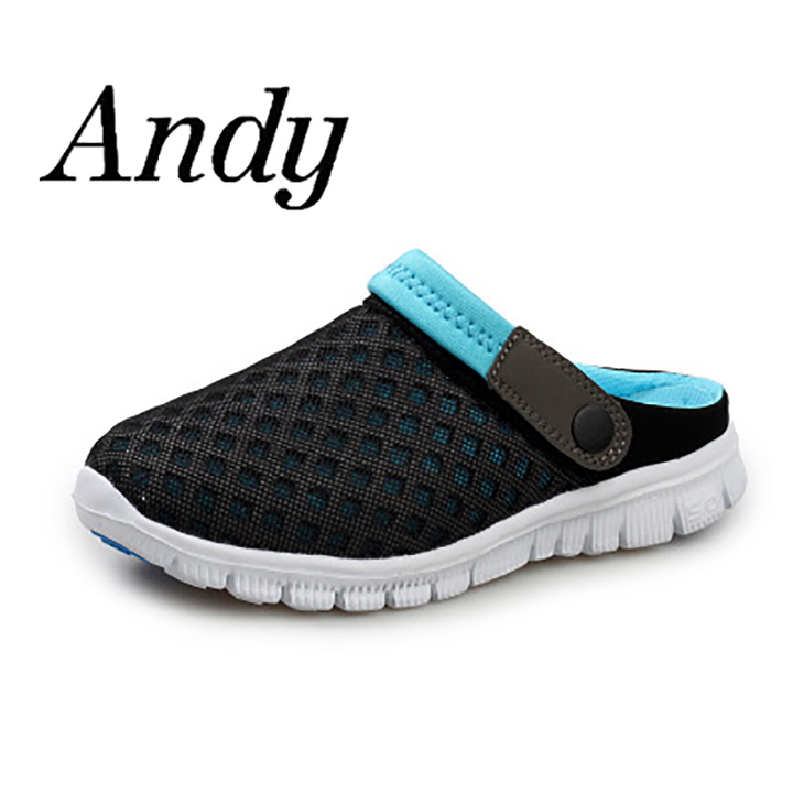 7e4f4b04fbdfb Men's Summer Sandal Mesh Breathable Flip Flops Shoes Unisex Non-slip Lovers  Sandals Homme Lazy Shoe black-blue 46