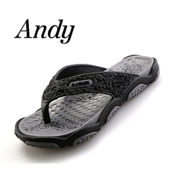 Summer Beach Slippers Men Flip Flops High Quality Beach Sandals Non-slide Male Slippers Casual Shoe black-gray 39