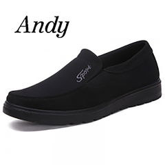 New Men's Leather Shoes Casual Canvas Shoes Non-slip Wearable Comfortable Big Size Shoes Men black 45 canvas