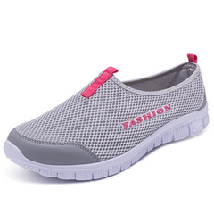 Breathable Mesh Summer Shoes Women Comfortable Cheap Casual Ladies Shoes Men Sneakers for Walking light gray 46