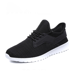 Fashion Casual Men Shoes Comfortable Race Lace Up Men Flats Mesh Spring Autumn Runing Shoes Men black 41