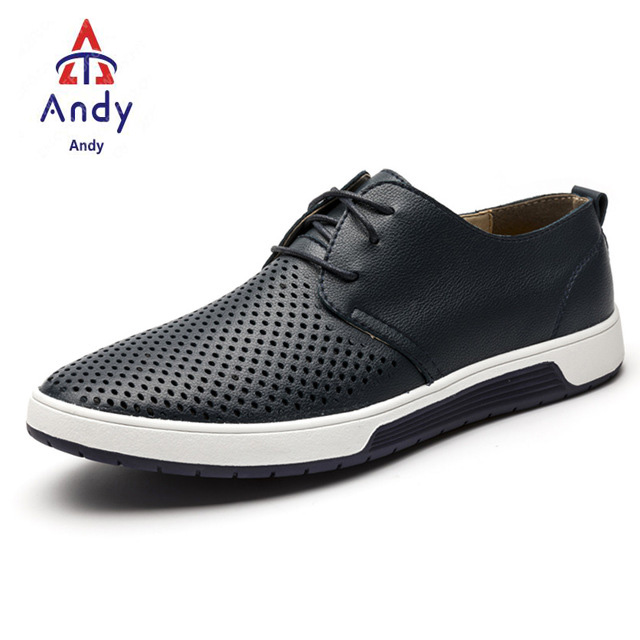 44e0c4413 New Men Casual Shoes Leather Breathable Holes Luxury Brand Flat Shoes For  Men Big Size Shoes 38-48 Blue Net 48 artificial leather