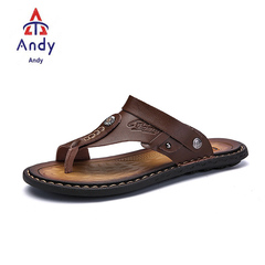 Men'S Sandals Genuine Leather Men Summer Shoes Leisure Slippers Flip-Flops Men Comfortable Footwear khaki 38