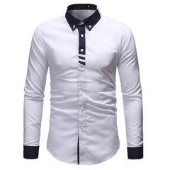 Fashion Formal Men's Shirts Long-sleeved T-Shirts white l