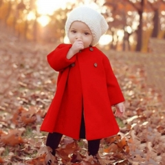 New children and baby winter round neck girls long sleeve cloak wool coat children's jacket red 70cm