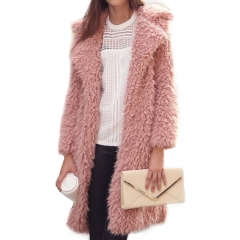 Best selling 2018 new autumn and winter women's fashion plush coat lapel furry long coat warm coat pink S