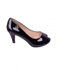 Classy peep toe ladies heel shoes - KX527 black 36