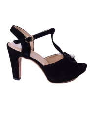 Classy and elegant ladies heel  shoes   suede peep with straps ZX-8 black 36