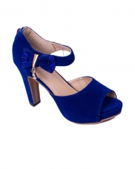 Classy and elegant ladies heel  shoes   suede peep ZX-9 blue 37