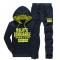 Suit for men's leisure sports men's Korean version, two pieces of hoodie suit blue L